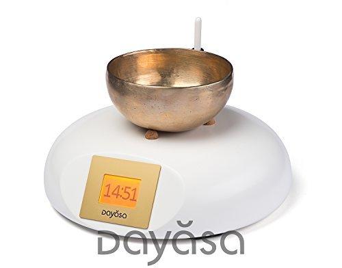 Bols chantants Horloge Mandala dayasa en hêtre blanc-Réveil avec bol chantant-Zen Réveil