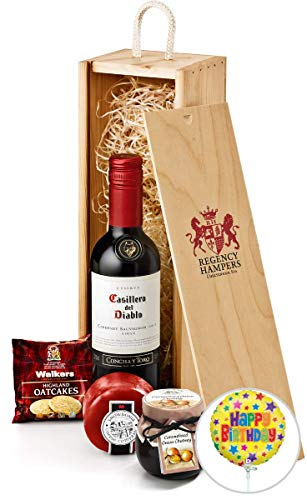 Birthday Wine & Cheese Gift Set in Wooden Box