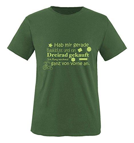 Comedy Shirts - Hab mir gerade Bauklötze und EIN Dreirad gekauft. - Herren T-Shirt - Oliv/Grün Gr. XL