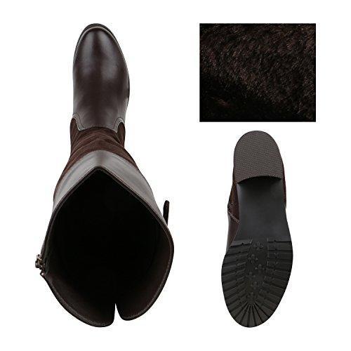 Warm Gefütterte Schwarze Damen Stiefel Flache Boots Materialmix Dunkelbraun