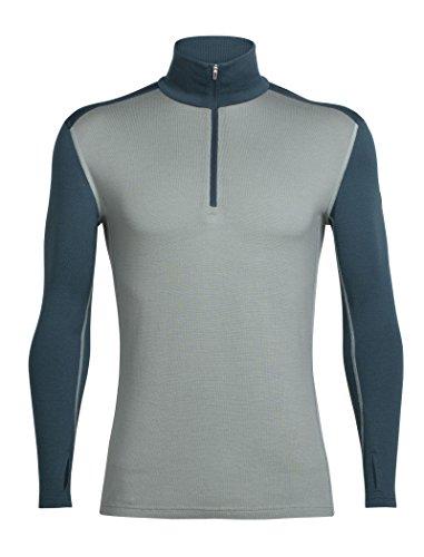 Merino Midweight Zip Top (Icebreaker Herren Mens Tech Top LS Half Zip Funktionsshirt, Drift/Harmony, XL)