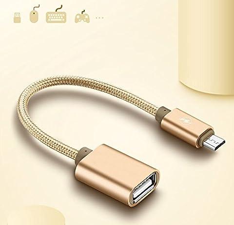 Micro USB zu USB, Superior ZRL Nylon geflochten Micro USB 2.0 OTG Kabel auf dem Go Adapter USB Micro Stecker auf Buchse USB für Samsung S7 S6 Edge S4 S3 Android etc 6