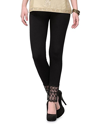 Pi World Women\'s Viscose Lace Leggings Of Free Size (lacelegging3, Black)