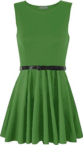 WearAll - Damen ärmellos Kurz Kleid mit Gürtel - 14 Farben - Größe 36-42 Grün