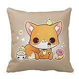 Bgejkos Cute Chibi Fox with Kawaii Icecream Pillow Case 18' 18'