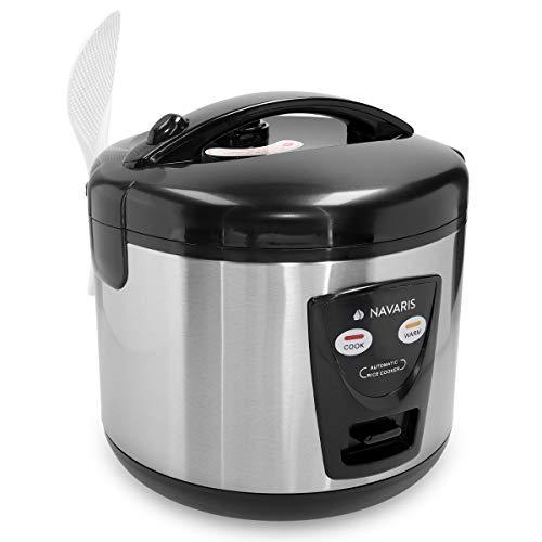 Navaris 1,2 Liter Reiskocher mit Warmhaltefunktion - 500 Watt 220V für bis zu 6 Personen - mit Löffel Dämpfeinsatz Messbecher - in Metallic Silber