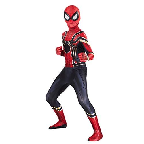 Kinder Erwachsene Eisen Stahl Spiderman Strumpfhosen Kleidung Marvel Avengers Film 3 4 Cosplay Kostüm für Halloween Kostüm Motto Party Filmrequisiten,Rot,M(Adult) (Kleinkind Avengers Kostüm)