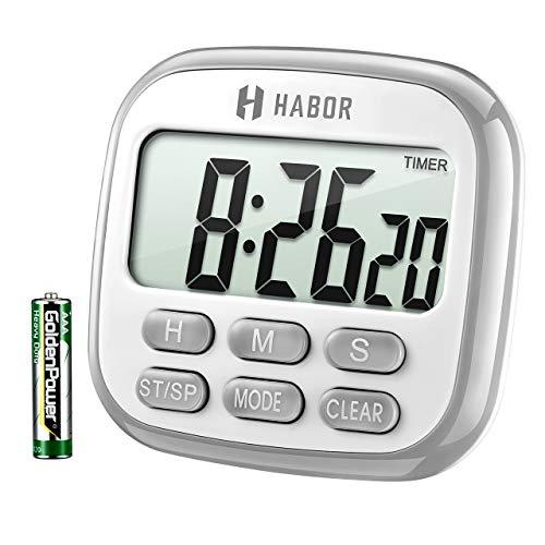 Habor Küchentimer Digital magnetisch Kitchen Timer großem LCD Bildschirm mit Lauter Alarm 24H Countdown Timer Retractable Stand Magnetic Backing für Kochen, Backen, Sport, Studieren, Spielen.
