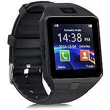 AlbitaStore DZ09 Smart Watch / Reloj inteligente DZ09 (disponible en español) / Reloj Bluetooth / Reloj Android / Reloj para la salud con pantalla táctil y cámara, Tarjeta Sim y puerto para tarjeta TF, batería de larga duración en tiempo de espera para teléfonos smartphone Android y los dispositivos IOS de iPhone (Negro)
