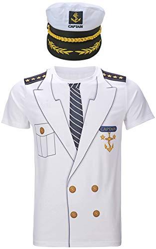 Cosavorock Herren Kapitän Kostüm T-Shirts mit Kapitän Hüte (2XL, (Halloween T Shirts Für Erwachsene)