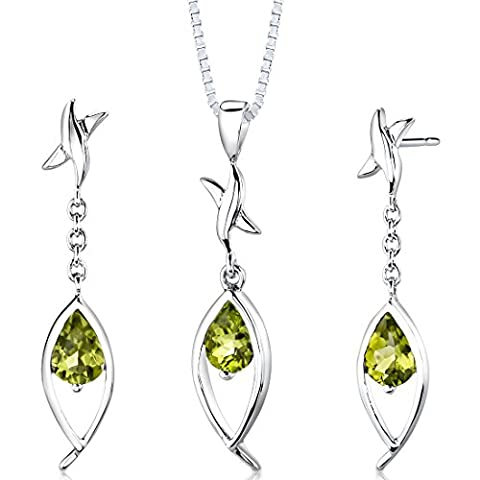 Revoni Sterling Silver 2.00 carats total weight Pear Shape Peridot Pendant Earrings and 46 CM Length Silver Necklace