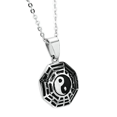 anazoz Fashion Jewelry Collier Pendentif en acier inoxydable-Collier Yin Yang hexagramme Pendentif pour sac Choisir Couleur Silver(Small)