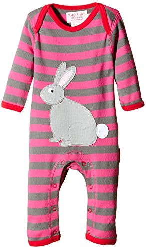 Toby Tiger 100% Organic cotton super soft rabbit appliqué sleepsuit.-Tuta