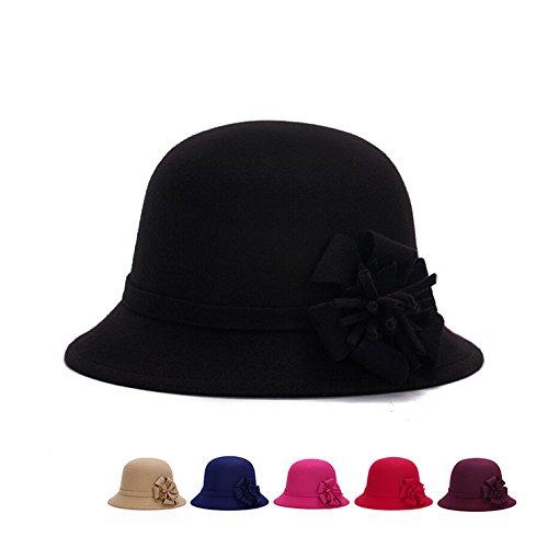 binpure Frauen Winter Cloche Wolle Hat Flower Cap Sun Lady Bucket Hat für Vintage Stil Bucket Hat schwarz Cloche Bucket