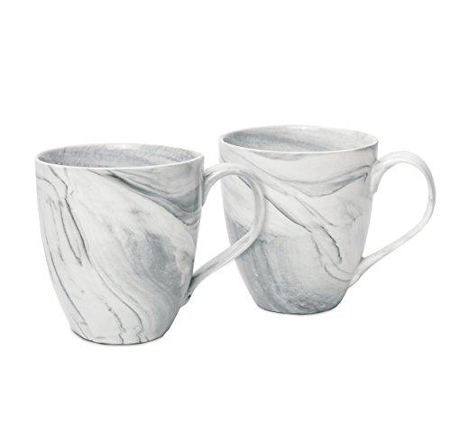 Hausmann & Söhne XXL Tasse weiß groß aus Porzellan in Grauer Marmorierung | Jumbotasse 500 ml (550 ml randvoll) im 2er Set | Kaffeetasse/Teetasse groß | Kaffeebecher Marmor | Geschenkidee Jumbo-tasse
