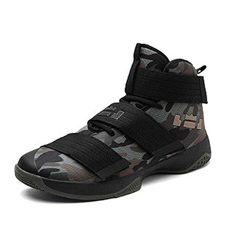 Largeshop Herren Jungen Basketballschuhe Hohe Sneakers Atmungsaktiv Ausbildung Outdoor Freizeit Sport Turnschuhe, Camouflage-1, 44 EU Schuhe Basketball