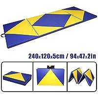 CCLIFE Colchoneta Plegable de Gimnasia y Colchoneta Yoga Colchoneta Deportiva Yoga estrilla 4 Pliegues, Tamaño:180x80x5cm