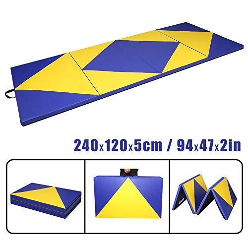 CCLIFE 240x120x5cm Weichbodenmatte Turnmatte Klappbar Gymnastikmatte, Variante:240x120x5cm Blau&Gelb