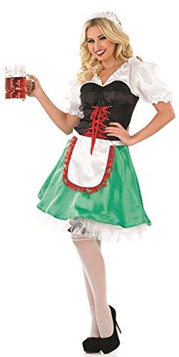 Damen 4 Stück Sexy Grün Oktoberfest Bayrisch Deutsch Schwedisch Bier Mädchen Kostüm Kleid Outfit EU 36-50 Übergröße - Grün, (Mädchen Grünes Bier Kostüme)