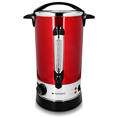 elektrischer topf mit thermostat Navaris Glühweinkocher Heißwasserspender aus Edelstahl - 10 Liter - mit Thermostat Füllstandanzeige Zapfhahn - Glühwein Heißgetränkeautomat