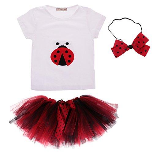 MagiDeal Baby Mädchen Kleidung Set 3 Stück T-Shirt + Rock Tütü Pettiskirt + Stirnband Geschenk Outfits Verkleidung Set - L