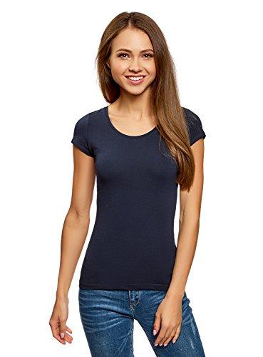 oodji Ultra Damen T-Shirt Basic mit Tropfen-Ausschnitt Am Rücken, Blau, DE 40/EU 42/L