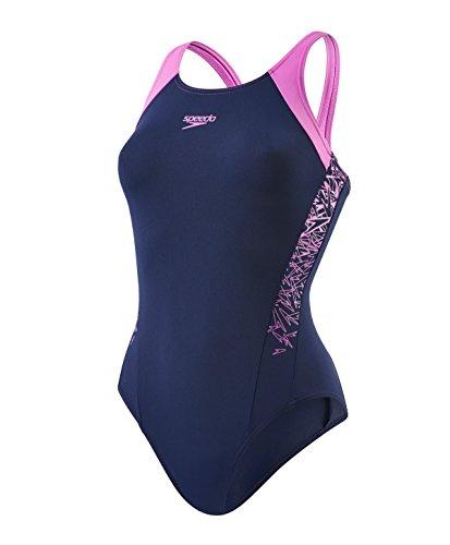 Speedo Damen Boom Muscleback Badeanzug mit Passe Swimwear Boom Muscleback Badeanzug mit Passe, Navy/Orchid, Gr. 42 (Herstellergröße: 38)