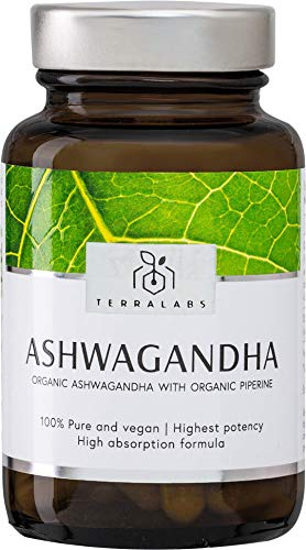 Organic Ashwagandha with Organic Black Pepper Vegan Capsules - Certified  Organic Ashwagandha KSM-66 by The Soil Association - Ayurvedic Withania