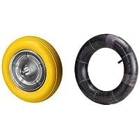Wolfpack 11110068 - Rueda carretilla obra maciza, color amarilla + 11110090 Cámara Rueda Especial Carretilla