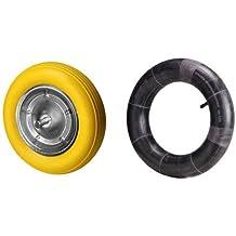 Wolfpack 11110068 - Rueda carretilla obra maciza, color amarilla + 11110090 Cámara Rueda Especial Carretilla Obra