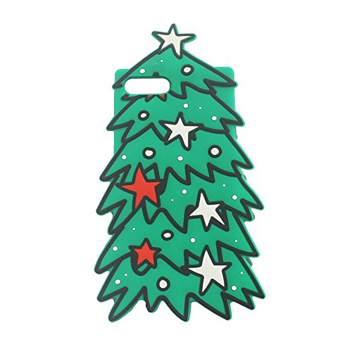 iPhone 6Fall, Anya 3D Cute Lovely Cartoon Tier Weich Gummi Silikon Back Shell Schutzhülle für iPhone 66S Polka Dot Schnalle Boy Maus, Green Christmas Tree