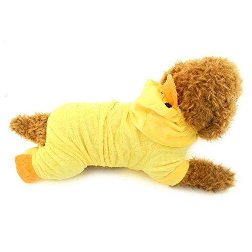 Pegasus Pet Kleidung für Welpen Katze Kleine Hunde Samt Ente Party Xmas Kostüm Schlafanzüge Gelb