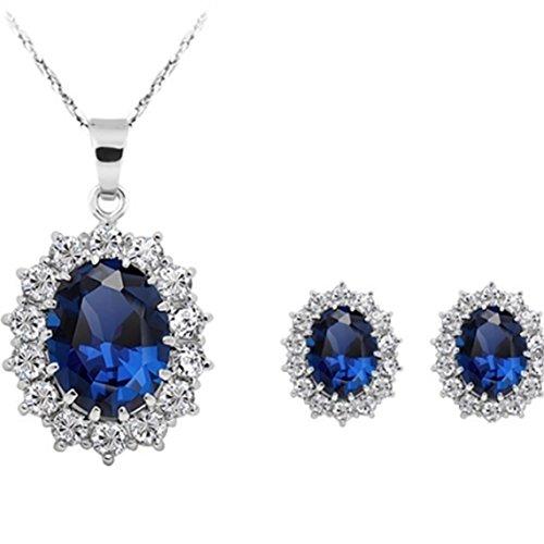 donne principessa blu zaffiro ciondolo collana orecchini set parure da principessa Diana Kate Middleton e placcato Argento, colore: Blue