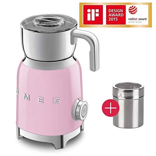 Smeg Induktion Milchaufschäumer 50s Style 600ml + Edelstahl Kakaostreuer, Edelstahlgehäuse, LED Leuchtring, 8 Programme, Edelstahl Milchbehälter spülmaschinengeeignet, Abschaltautomatik, Cadillac Pink
