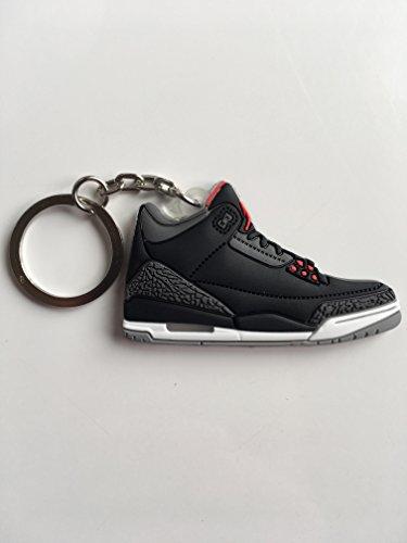Jordan Retro 3Schwarz Zement Sneaker Schlüsselanhänger Schuhe Schlüsselanhänger AJ 23OG