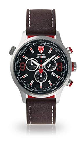 DETOMASO AURINO Herren-Armbanduhr Chronograph Analog Quarz Silbernes Edelstahl-Gehäuse Schwarzes Zifferblatt (Leder - Dunkel Braun (Naht: Weiß))