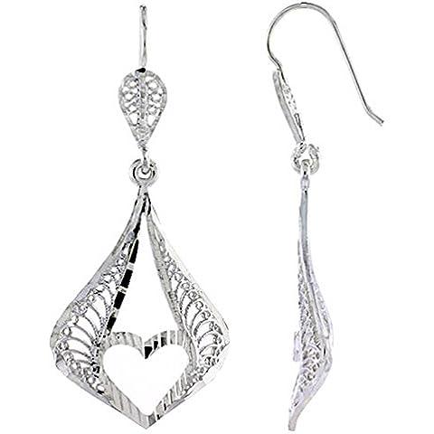 Revoni-Collana in argento Sterling (1 13/(16 40,64 cm altezza 47 mm) a forma di pera, in filigrana-Orecchini pendenti, con taglio a forma di cuore
