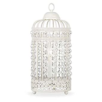 Ornate Cream Metal Framed Birdcage Table Lamp with Jewel Droplets ...