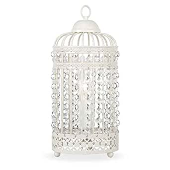 Ornate Cream Metal Framed Birdcage Table Lamp with Jewel Droplets Light Shade