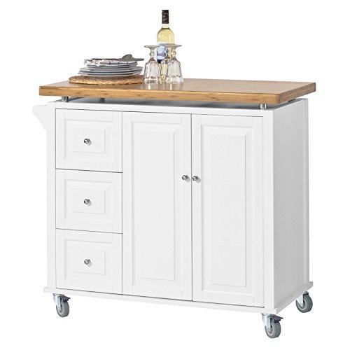 SoBuy® Neu Luxus-Küchenwagen, Arbeitsplatte aus hochwertigem Bambus,Kücheninsel,Kü...