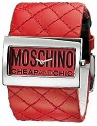 Moschino MW0014 - Reloj analógico de mujer de cuarzo con correa de piel roja - sumergible a 30 metros