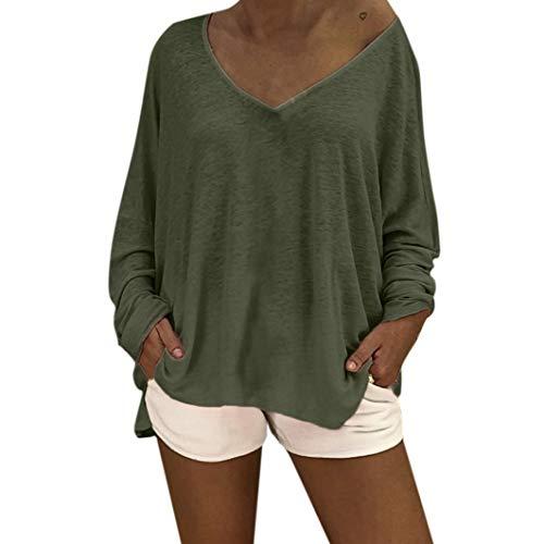 (Subfamily Frauen O Hals Solid Tops Langarm LooseTops Bluse T-Shirt Reine Farben Strand-Style Einfach Design Sommer und Herbst Tops Beiläufig Pullover Sweatshirt Strickpullover)