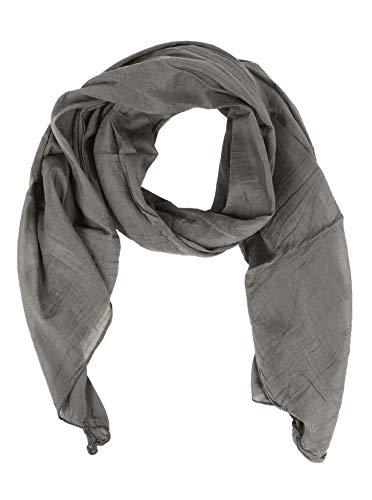 Zwillingsherz Seiden-Tuch für Damen Mädchen Uni Elegantes Accessoire/Baumwolle/Seiden-Schal/Halstuch/Schulter-Tuch oder Umschlagstuch einsetzbar - gra