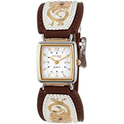 Montana Silversmiths Women's WCH820 Floral Inset Leather Band Analog Watch
