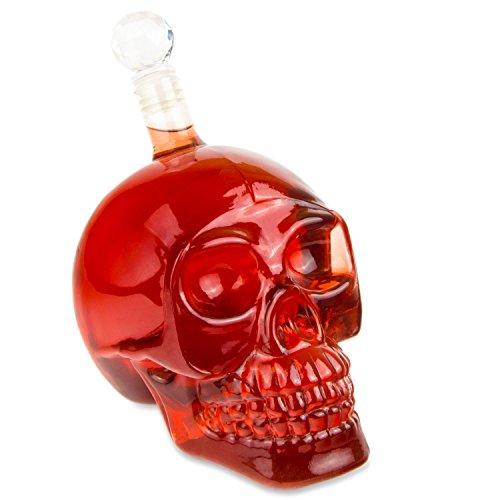 Skull - Flasche (550 ml) für die Hausbar, Party, Halloween, Geschenk im Totenkopfdesign, Vodka, Whiskey- Flasche, Kristall- Schädel, Totenkopf, Wein- Dekanter, Schnapsglas, Farbe: Transparent