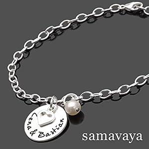 Armband mit Gravur OUR LOVE 925 Sterling Silber Namensarmband, Herz, Schmuck mit Gravur