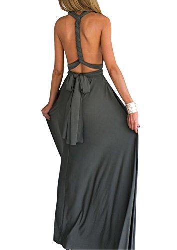 Brinny Femmes Sans Manches Col V Style Halter Multiway Multi-style élégante Bandage Cross Robe Soie Maxi Dress Pour Cocktail Party Mariage Soirée 14 Couleur 4 Tailles: S-XL Gris