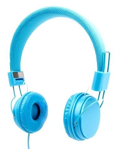 Casque bleu enfant pour PC Acer Aspire V 13 V3-372, V Nitro VN7-591G-71W9 et V Nitro VN7-792G-76S9 / VN7-572G-55WV – réglable et repliable avec microphone intégré – DURAGADGET