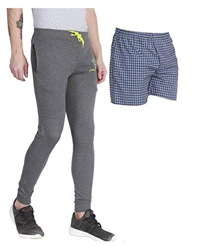 Men's Woven Track Pant (Combo of shorts) (Multicolor_Free Size) (DRAK GREY, L)
