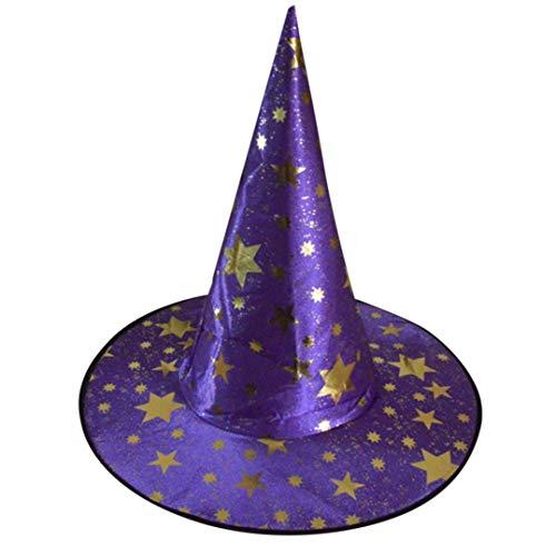 Mitlfuny Zaubererhut Hexenhut Spitzen Hut Sterne Bedruckte Kappe Halloween KostüM ZubehöRteil Hat FüR Erwachsene Damen Herren Kinder Fasching Karneval (Lila) (Ursula Kostüm Kinder)